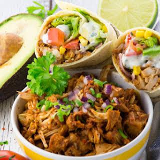 Vegan Pulled Pork Wrap with Avocado.