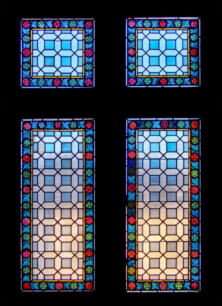 Photo: Stained glass windows in the tower at the East end of the Charles Bridge Prague - February 2008