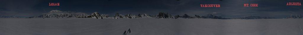 Photo: panorama from the pass between Seward and Hubbard glacier.