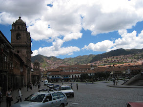Photo: Cuzco was originally the Inca capital, but in the 1500s it was settled by the spanish, and you can see their buildings everywhere. The church on the left is colonial Spanish.