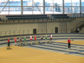 Photo: Start of the first race of the Junior Boys 60m Hurdles - Daniel Ryan in Lane 2 (on right)