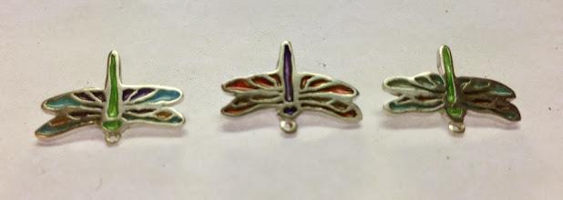 """Photo: Plique-a-Jour Dragonfly Buttons (pierced technique) - Sterling silver, plique-a-jour enamels - approximately 21/32"""" x 1/2"""" each - $115.00 US each"""