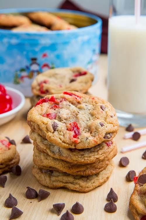 "Click Here for Recipe: Maraschino Cherry Chocolate Chip Cookies ""For these maraschino..."