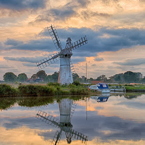 Thurne Drainage Mill, Norfolk, England, October Morning. by Dave Byford - Landscapes Travel ( clouds, water, uk, reflection, waterscape, boats, norfolk, dyke, norfolk broads, davebyford-photography.co.uk, landscape, canal, colours, thurne, england, autumn, windmill, river,  )
