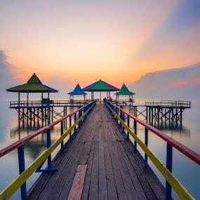 Center by Robertho Ponomban - Landscapes Sunsets & Sunrises ( blue, beach, sunrise, jetty, landscape )