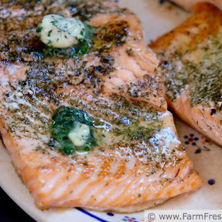 Grilled Asparagus and Salmon with Dill Butter