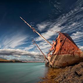 Final Destination by Þorsteinn H. Ingibergsson - Transportation Boats ( iceland, sky, nature, wreck, ship, structor, rusty, landscape, abandoned )