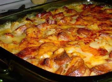 CHEESY SMOKED SAUSAGE AND POTATO CASSEROLE