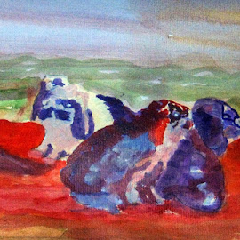 Colorful Bunnies by Meeta Thakur - Painting All Painting ( colourful, paper, bunnies, painting, watercolour )