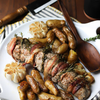 One-Pan Roasted Pork Loin with Fingerling Potatoes and Garlic.