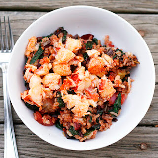 Leek, Beet and Radish Fried Rice with Buttery Lobster.