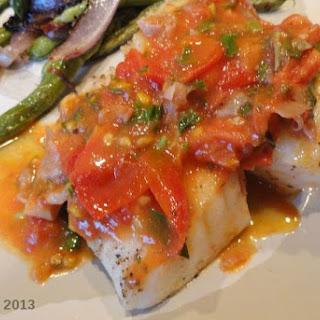 Pan Seared Halibut with Fresh Tomato Sauce.