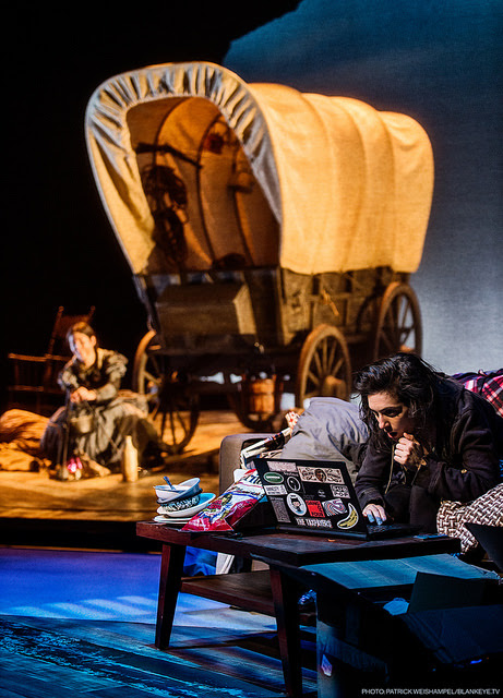 Portland Center Stage: The Oregon Trail By Bekah Brunstetter Directed by Rose Riordan Art Sarah Baskin as Now Jane (front) and Alex Leigh Ramirez as Then Jane At The Armory October 29 through November 20, 2016. Photo by Patrick Weishampel/blankeye.tv.