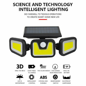 Lampa solara tripla split, senzor de de miscare, 15 W, IP65