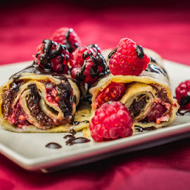 Crepes with strawberries by Marius Radu - Food & Drink Candy & Dessert ( straberry, plate food, desert, crepes, chocolate )
