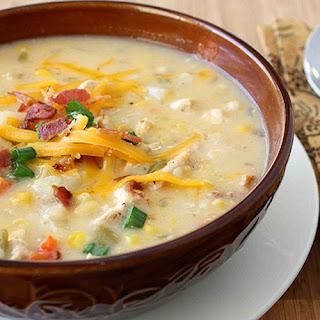 Chicken, Corn & Potato Chowder Recipe with Green Chiles & Cheddar Cheese.