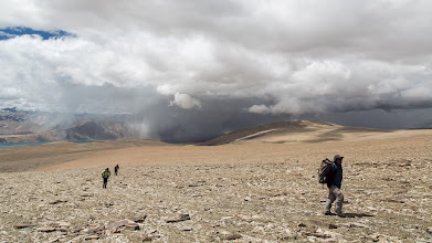 Photo: Climbing above Skyurchu, we crossed this high plain, and the usual forbidding cloudscape that amounted to nothing in the end.