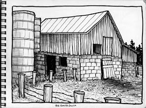 Photo: The Smith barn, Chautauqua County/Western New York (pen & ink sketch)
