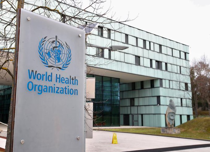 FILE PHOTO: A logo is pictured outside a building of the World Health Organization (WHO) during an executive board meeting on update on the coronavirus outbreak, in Geneva, Switzerland, February 6, 2020. REUTERS.