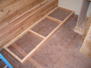 Photo: My lumber storage rack will sit against the north wall, behind the plywood storage.