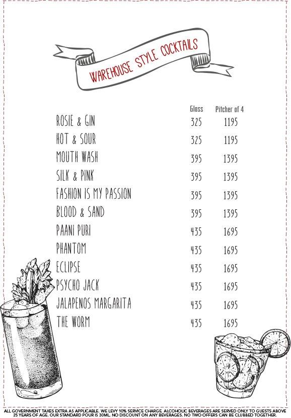 Warehouse Cafe menu 2