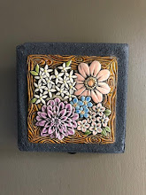 Photo: 3-D Flower tile Cast in Cement Bright River Studios - Artist Terri Goodwin www.brightriverstudio.com