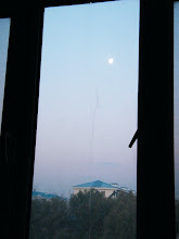 Photo: golden dawn with bright late moon in sky, from QRRS Dorms where benzrad 朱子卓 praying for his new family, Royal China.