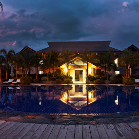 Beautiful Hotel by Mert Docdor - Artistic Objects Other Objects ( clouds, water, mindanao, adventure, reflection, sky, pool, colors, dark, hotel, travel, philippines )