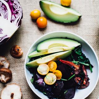 Tamari Beet Bowl w/ Fried Mushrooms & Avocado (Vegan, Gluten Free)