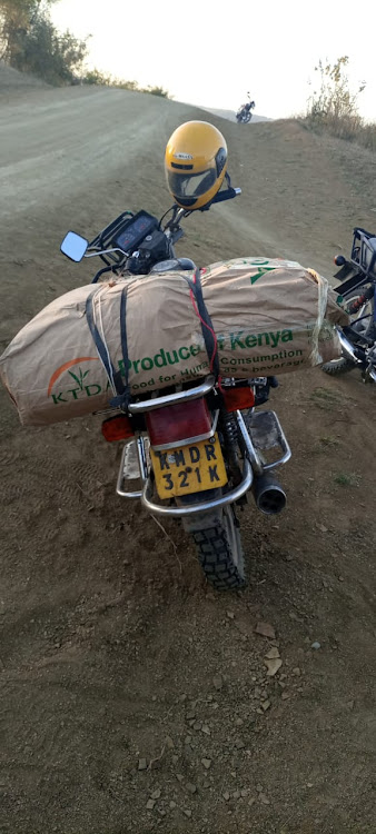 Bhang loaded on a motorbike after it was seized by police at Mteza in Matuga on Saturday, October 17, 2020.