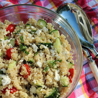 Greek Quinoa Salad with Cucumbers, Tomatoes, and Feta.