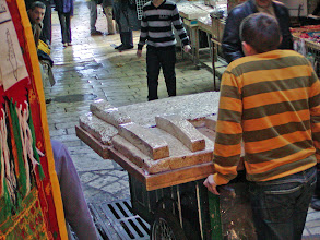 Photo: Many street vendors in the narrow streets of old Jerusalem sell this type of cake--sort of a bitter, brittle-type cake.  One could develop a taste for it, especially with a good cup of coffee.