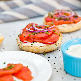 Vegan NY Style Bagels with Tomato Lox and Cashew Cream Cheese.