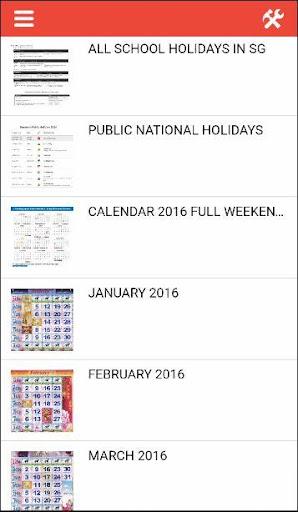 Calendar 2016 Singapore Horse