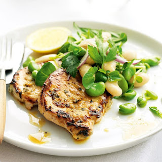 Pork Loin Steaks With Broad Bean And Butter Bean Salad