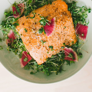 Microgreen Watermelon Radish Salad Over Oven Baked Salmon.