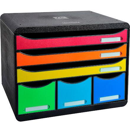 Box Exacompta 6låd svart/färg