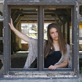Girl in the window by Goran Kojadinovic - People Portraits of Women ( model, girl, window, backlight, teen, ruin, beautiful, abandoned factory, posing,  )
