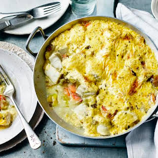 Simple Cod Gratin With Béarnaise Sauce Topping.