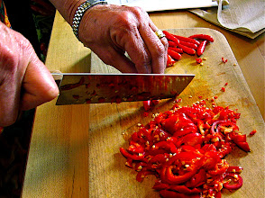Photo: chopping chillies for chive cake sauce