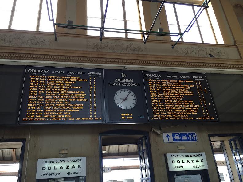 ザグレブ中央駅 出発ボード