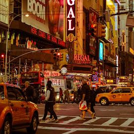 random scene at times square by Salil Phadnis - City,  Street & Park  Street Scenes ( crosswalk, crossing, times square, streets, new york city, street lights )