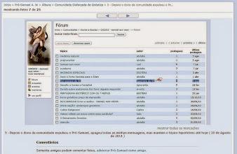 Photo: Imagem copiada do Álbum de Fotos do Pró-Samael, onde mostra que o tópico 'Ser escravo da SH', permaneceu 6 meses na comunidade do abdalla, mesmo depois do Pró-Samael ter denunciado o texto Ser escravo da SH. ( Foto do antigo álbum de fotos do Pró-Samael no Orkut )