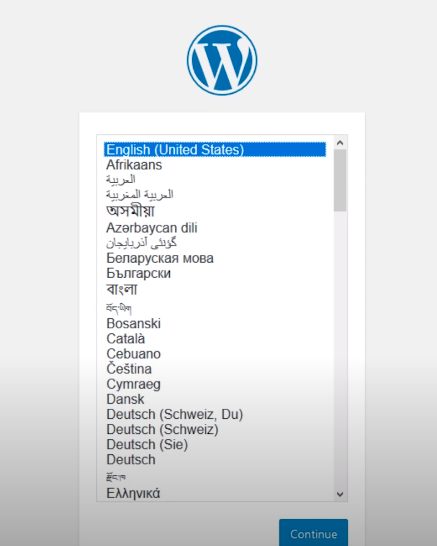 wordpress language selection window