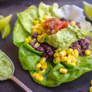 Vegan Mexican Black Bean Lettuce Wraps with Avocado Lime Dressing.