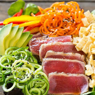 Ahi Tuna Salad with Sesame Ginger Dressing.