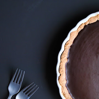 Salted Chocolate Tart with a Chai Shortbread Crust.