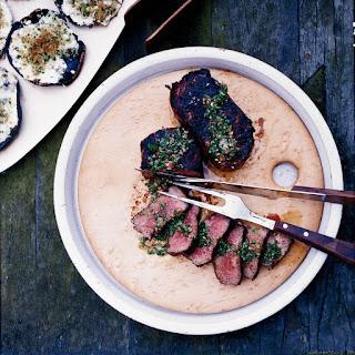 Smoky Strip Steaks with Chimichurri Sauce