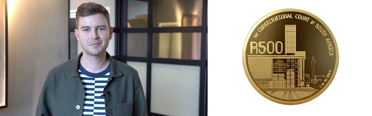 Artist and architect Shaun Gaylard with the 24-carat gold R500 commemorative coin he designed.