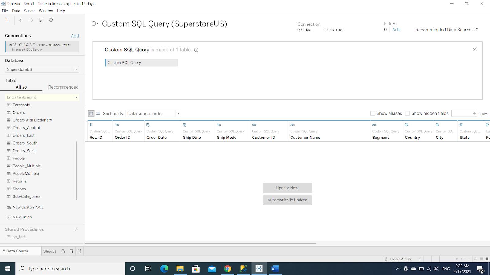 Edit Custom SQL Query Window